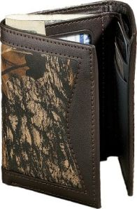 leather and camo Mossy Oak Wallet