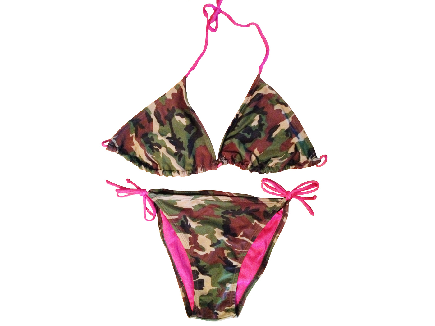 a6fd36077140b Military Camouflage Bikini With Pink String Ties