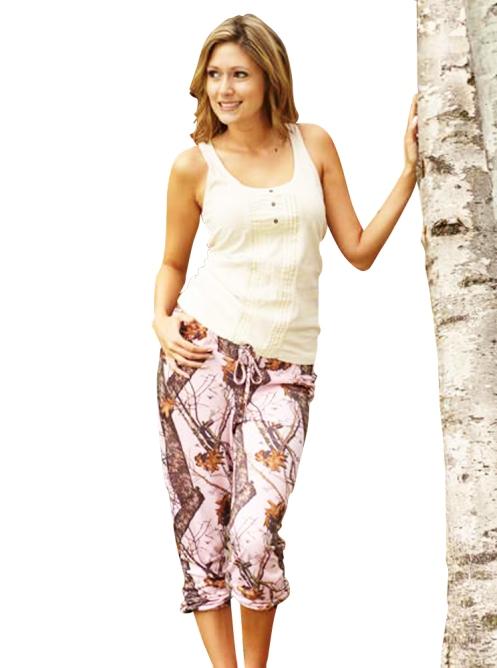 Soft Pink Camouflage Capri Pants