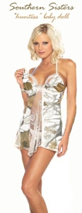 White Camo Snow open front baby doll with removable cup