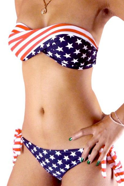 4c33d1ddf43bc American Flag Bandeau Bikini Top and Matching Bottoms