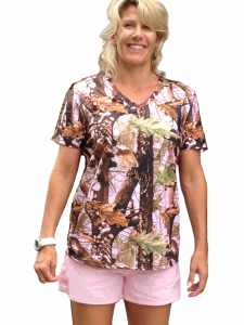 Women's Camouflage Pink V Neck Loung Wear Shirt