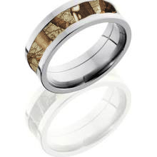Huntress Pink Camouflage Hunting Ring Silver Titanium and Tungsten
