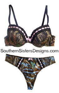 mossy oak lingerie - panties with matching bra that has pink trim or lace