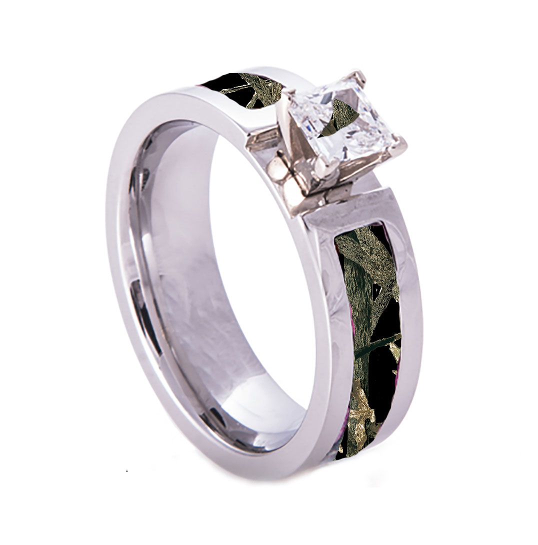 Pink Camo Wedding Rings: Camouflage Wedding Rings – Camo – Pink – Orange
