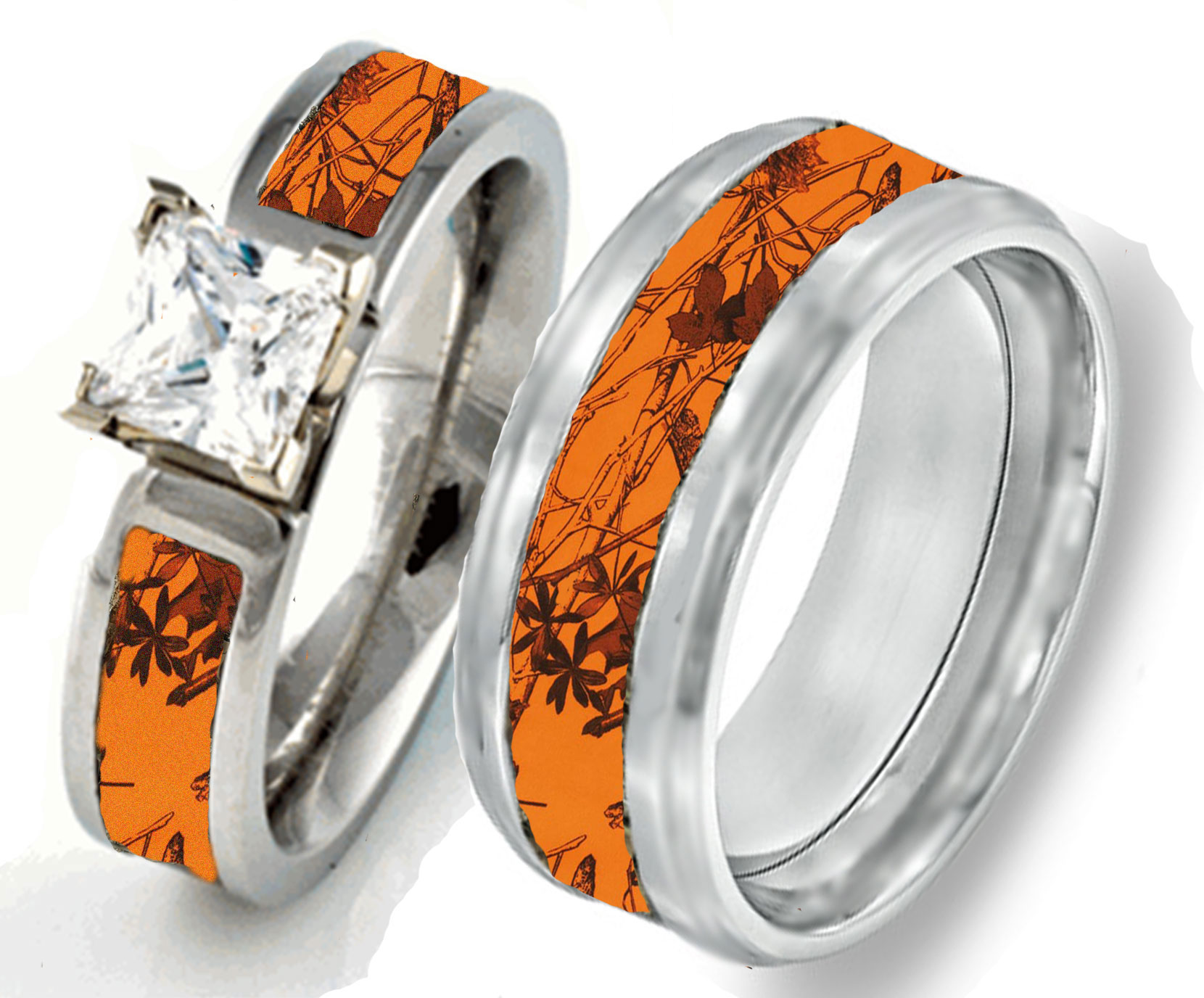 Camouflage Wedding Rings – Camo – Pink – Orange