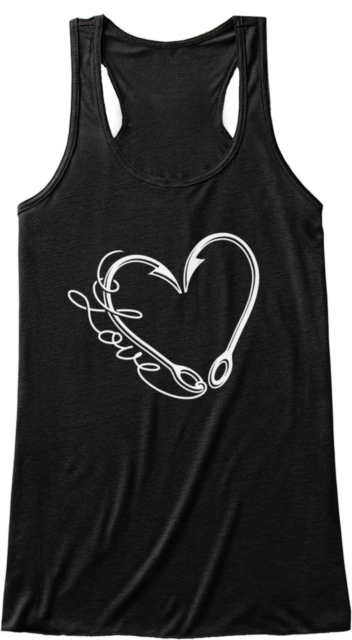 Love fishing with word and fish hook heart tank top for for Fishing tank top
